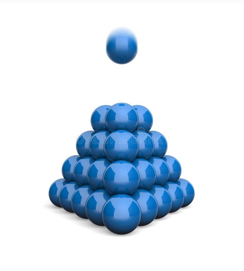Ballpyramiden-Konzeptblau 8 der Illustrations-3D lizenzfreie abbildung