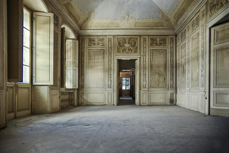 Ballroom. In a historic building abandoned, Italy, Europe royalty free stock images