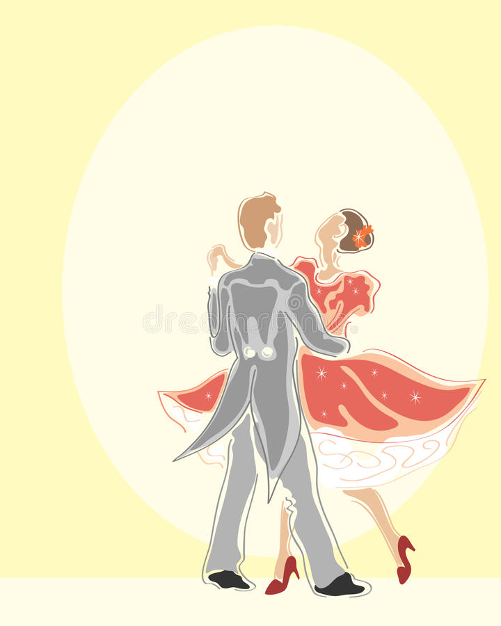 Ballroom dancers. A hand drawn illustration of two ballroom dancers dancing in the spotlight stock illustration