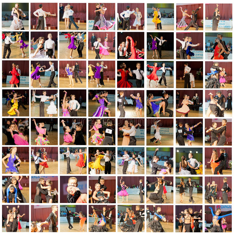 Ballroom dancers. MINSK-BELARUS, NOVEMBER 6: Collage made of multiple shots of Unidentified dance Couples perform Juvenile Latin Program on Dance Fashion Contest stock photography