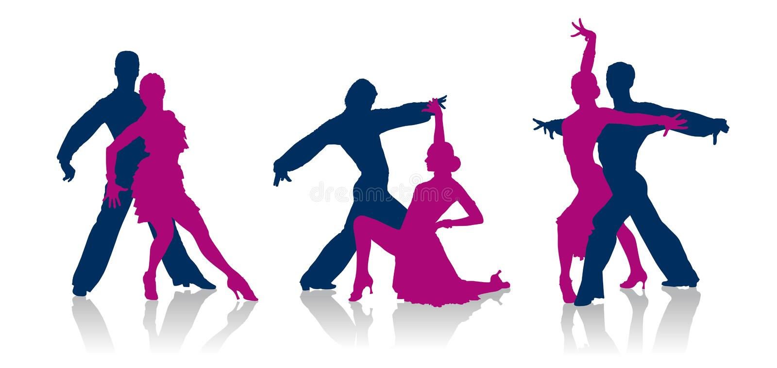 Ballroom dancers silhouettes. Detailed vector ballroom dancers silhouettes stock illustration