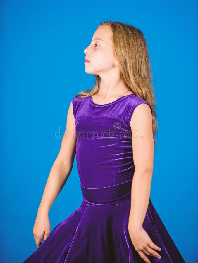 Ballroom dancewear fashion concept. Kid dancer satisfied with concert outfit. Clothes for ballroom dance. Ballroom stock images