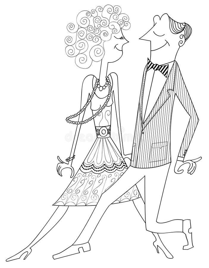 Ballroom dancing couple stock illustration