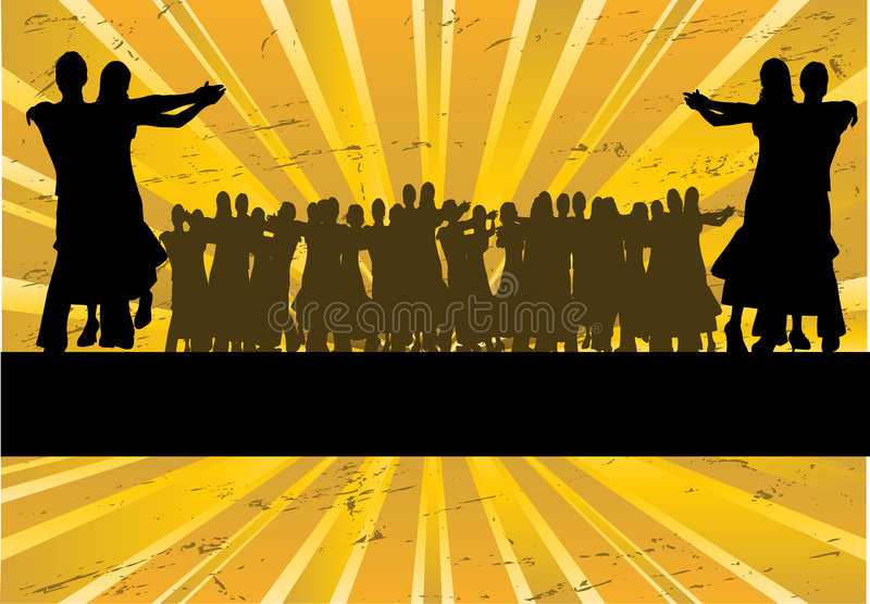 Ballroom Dancing Sunburst. Ballroom dancing based illustration with a sunburst for an advertising flyer