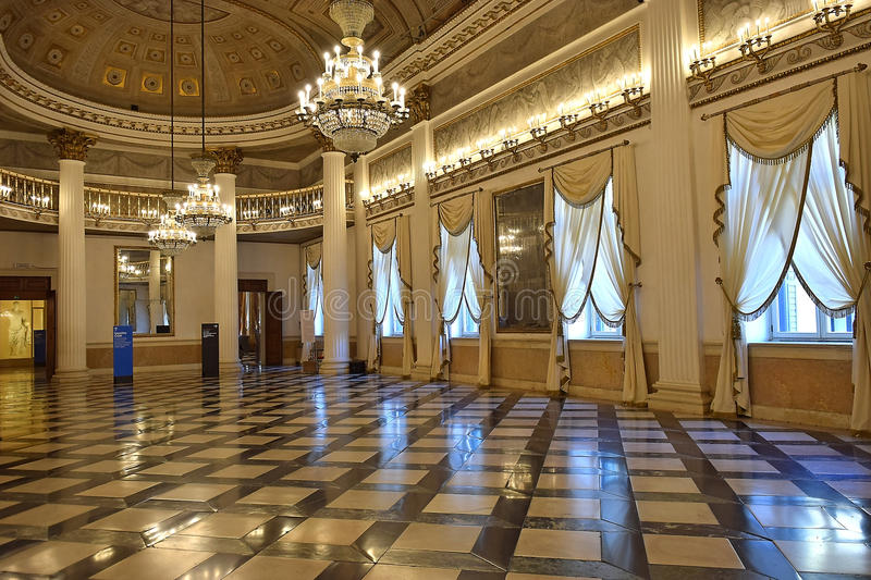 Ballroom in the Museum Correr in Venice. VENICE, ITALY - 11 OCTOBER 2016: ballroom in the Museum Correr of Venice October 11 2016 located in St. Mark`s Square on royalty free stock photos
