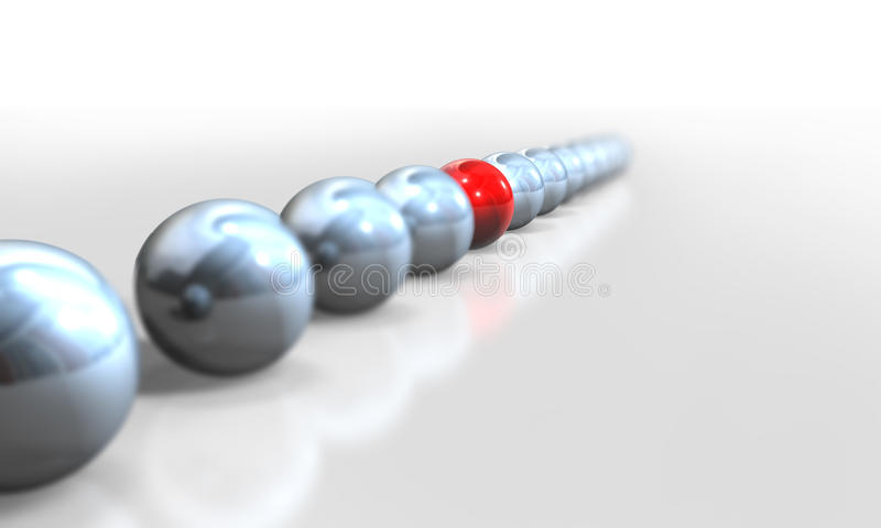 Balls 3d. 3d,grey balls and different red ball royalty free illustration