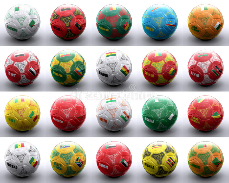 Balls With African Flags Of Nations Royalty Free Stock Image