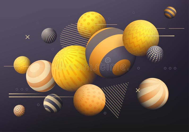 Background with golden, yellow and black decorative 3D balls. Abstract vector illustration vector illustration