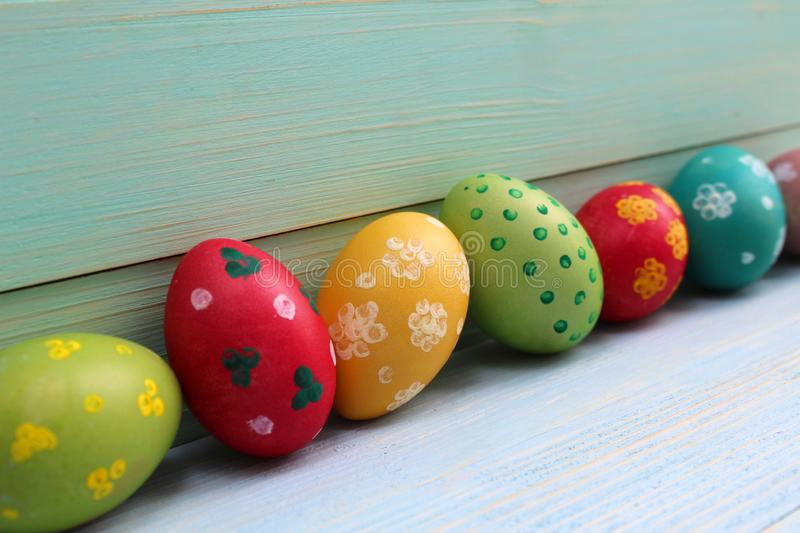 Easter eggs of different colors are one line stock photography