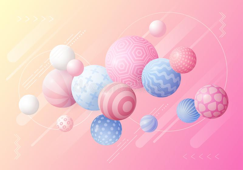 Multicolored decorative background with 3D balls. stock illustration