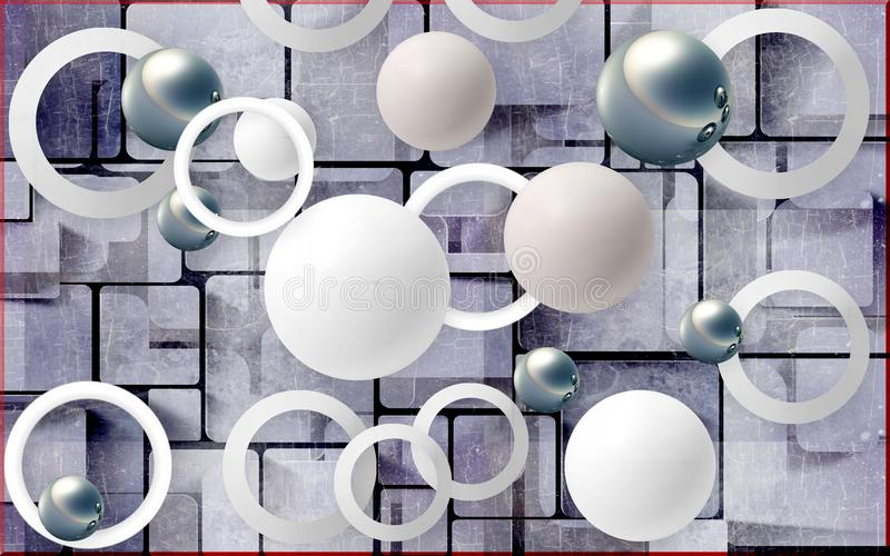 Balls and circles on an abstract background. Photo wallpaper for wall. 3D rendering. stock illustration