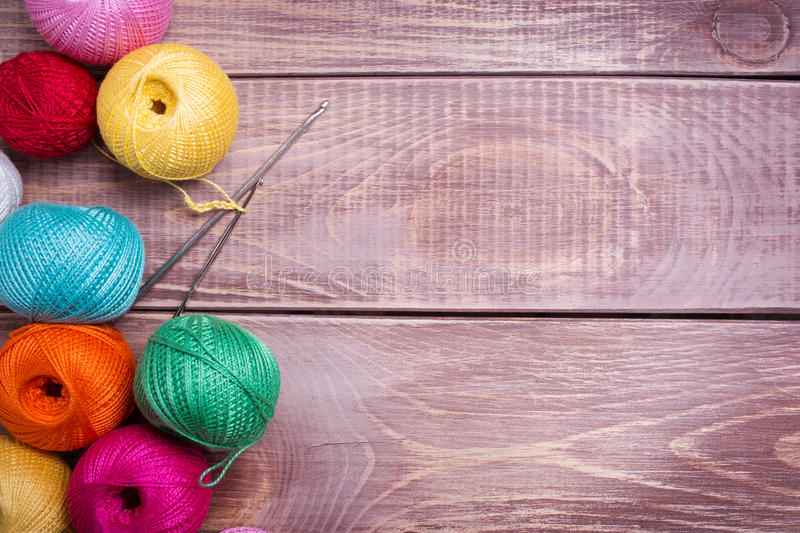 Balls of colored yarn royalty free stock images