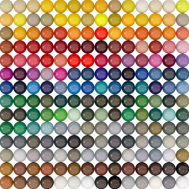 Balls-colors under catalogue RAL stock photos