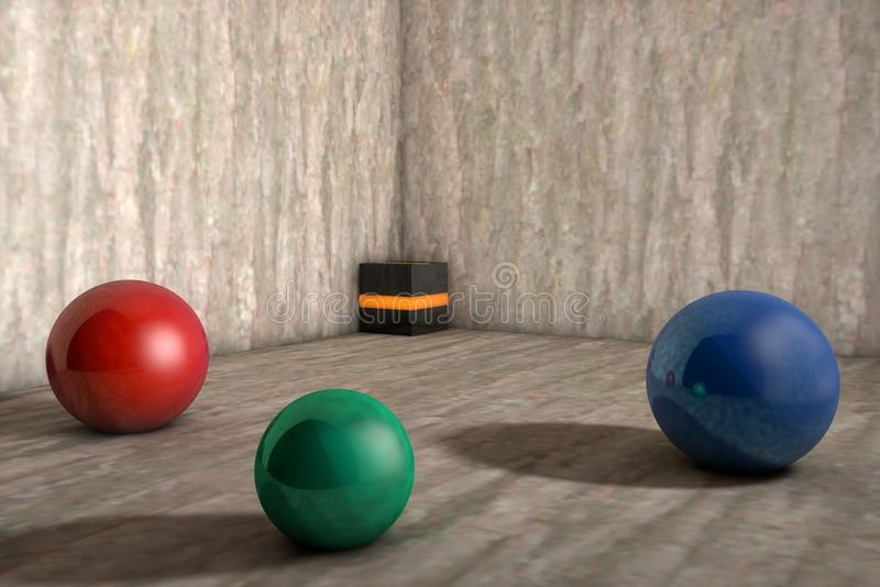 Balls in 3d, very beautiful royalty free illustration