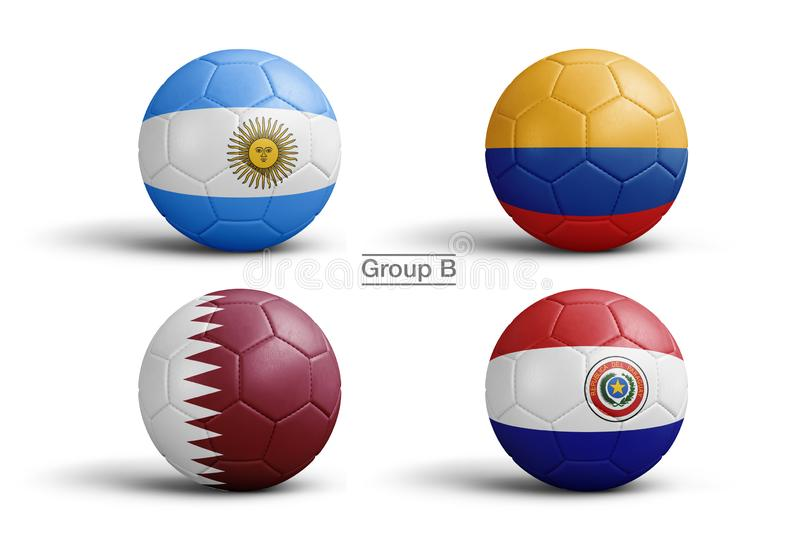 Balls of flags of Copa America 2019 royalty free illustration