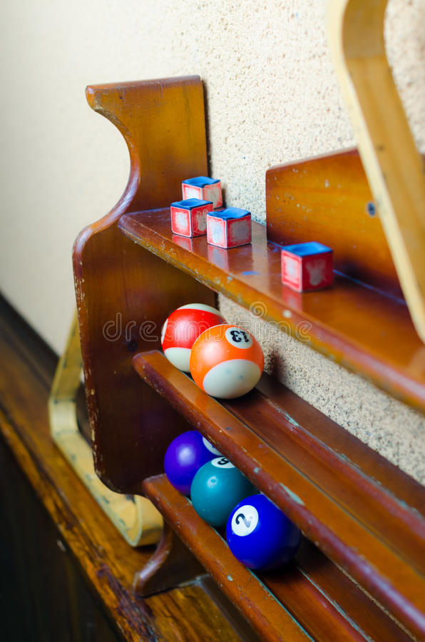 Balls for a game of pool billiards on shelves. Billiard sport concept. American pool billiard. royalty free stock images