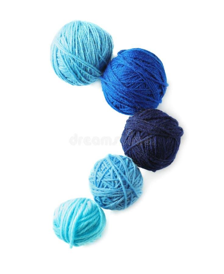 Balls of knitting yarn on white background stock photo