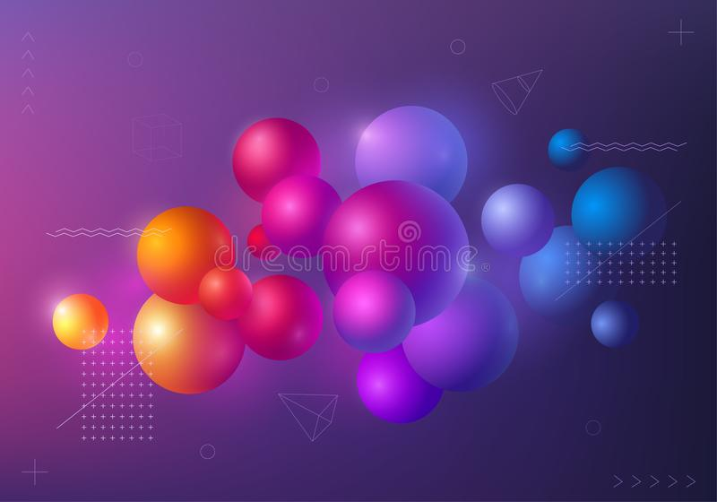 Background with multicolored decorative 3D balls. Abstract poster, vector illustration vector illustration