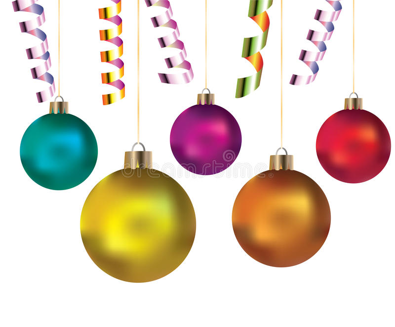 Balls and streamers for holiday stock illustration