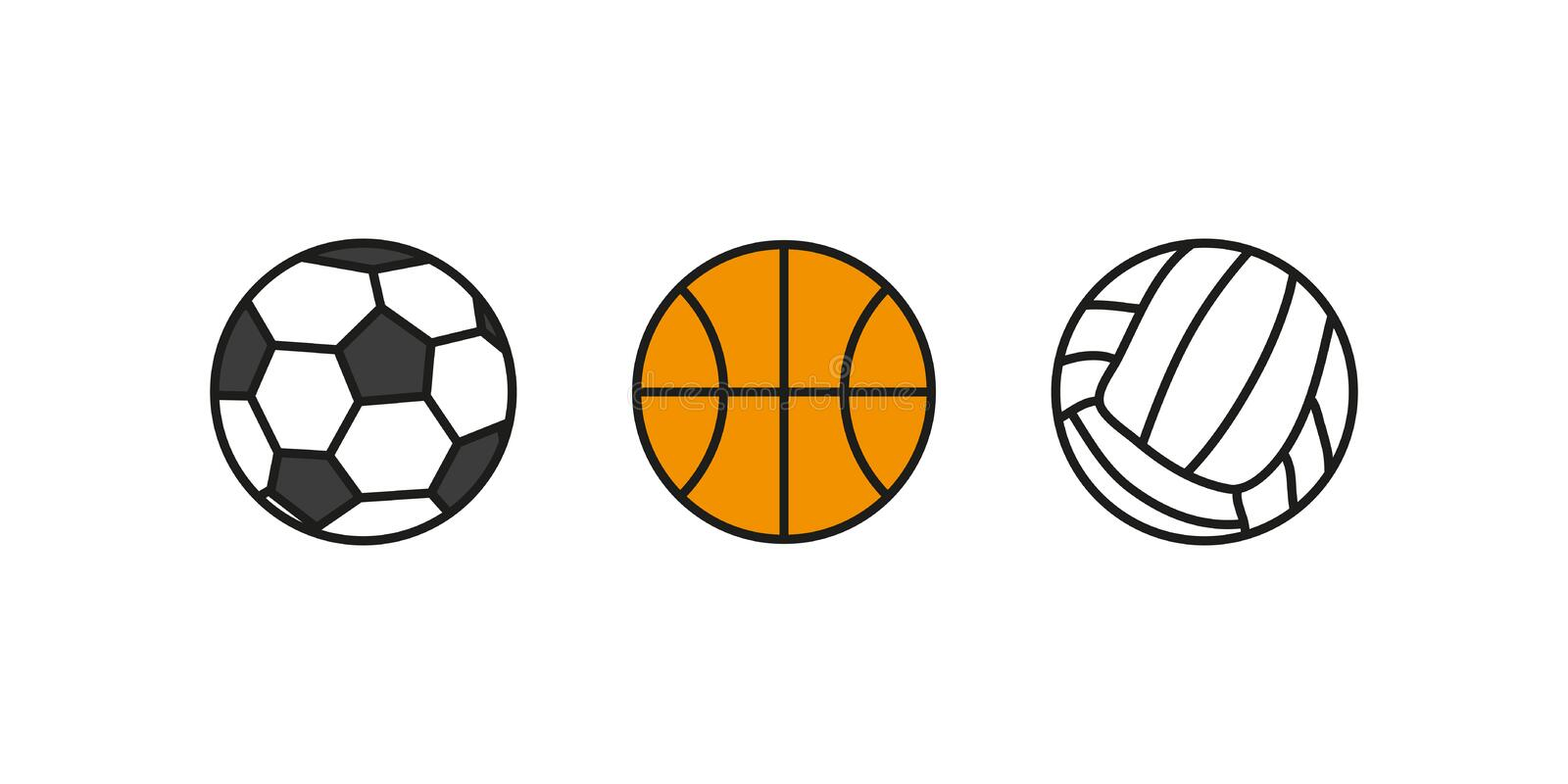 Balls volleyball basketball football set. Set balls sport isolated. Vector stock illustration