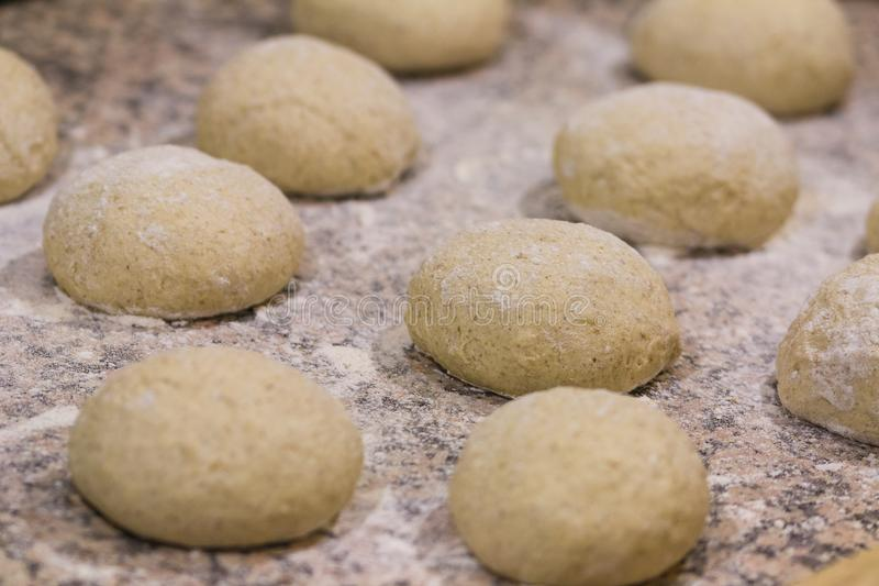 Balls of whole wheat pizza dough royalty free stock photos
