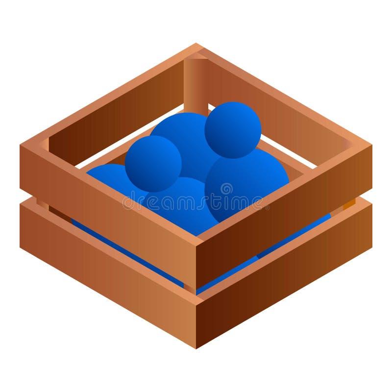Balls in wood box icon, isometric style royalty free illustration