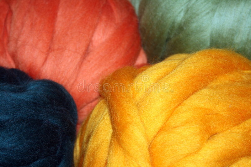 Balls of Wool Roving stock photography