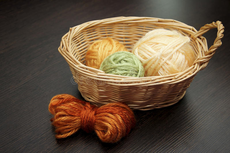 The balls of woolen threads. Woolen balls of threads in a basket stock photography