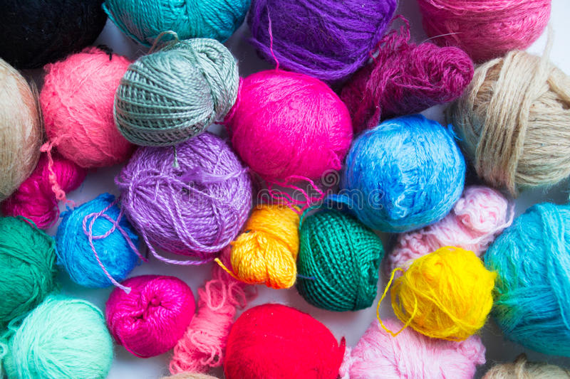 Balls of yarn on white background. Closeup stock images