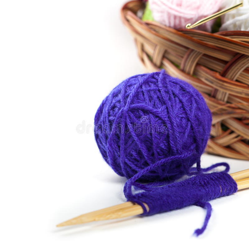 Balls of yarn. On White Background. Selective focus stock photography