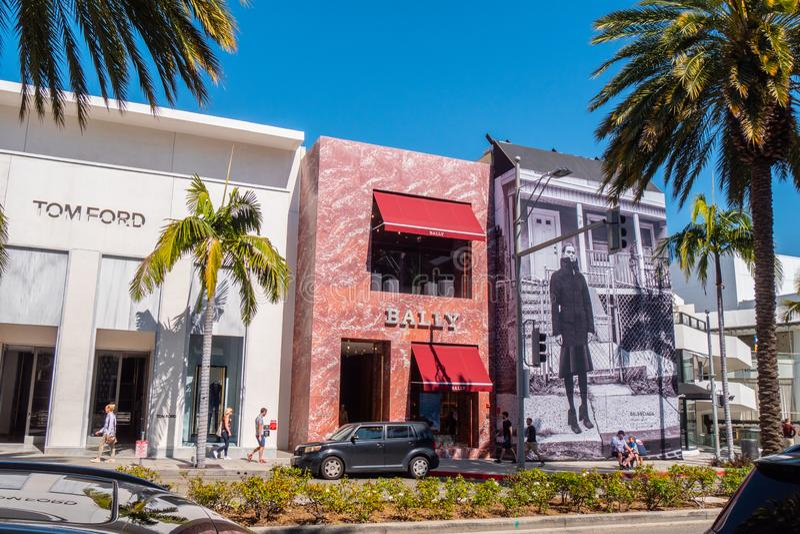 Bally lager på Rodeo Drive i Beverly Hills - KALIFORNIEN, USA - MARS 18, 2019 royaltyfri foto