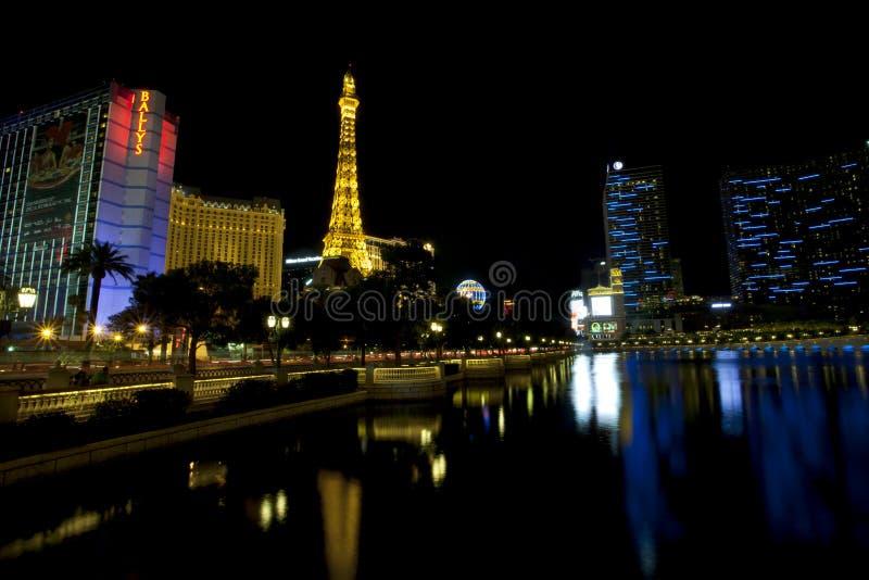 Bally, Parijs, Planeet Hollywood en Kosmopolitische Casino's langs de strook van Las Vegas stock afbeelding