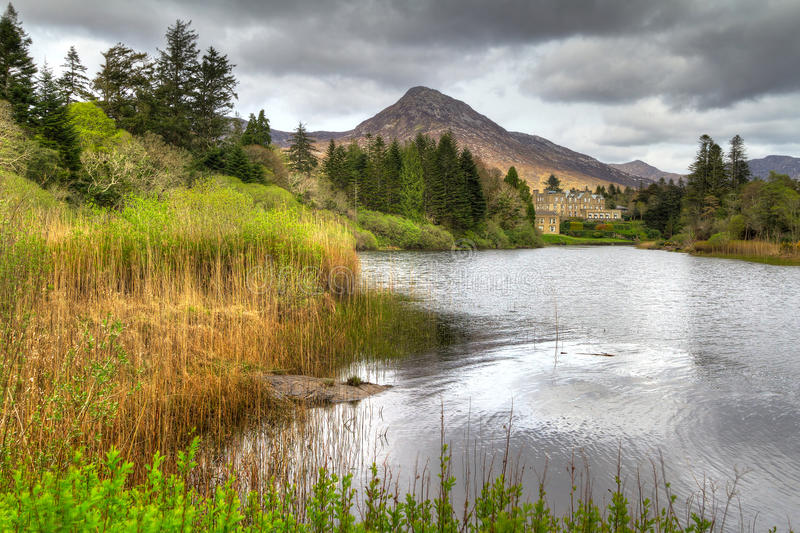 Download Ballynahinch Castle In Connemara Mountains Stock Image - Image: 24529229