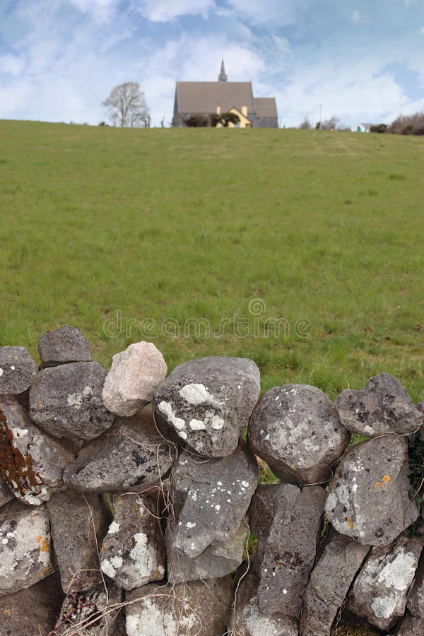 Free Ballyvaughan Old Stone Wall And Church Stock Image - 17108631