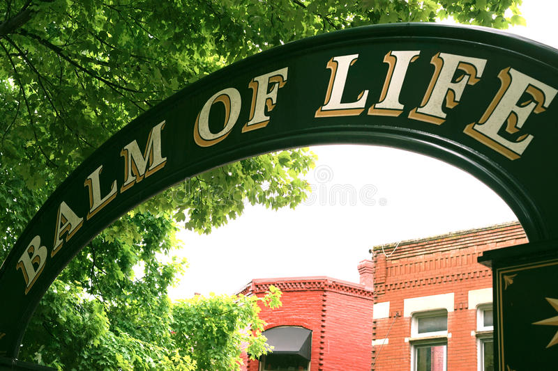 Balm of Life arch - city park. City park sign in Eureka Springs, Arkansas located in the Ozark mountains. This park has a small amphitheatre built at the turn of royalty free stock images