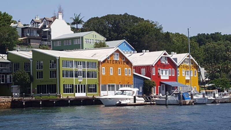 Balmain un hub per la spedizione in Sydney Harbour compreso la casa delle barche del rimorchiatore, Sydney, NSW, Australia fotografia stock
