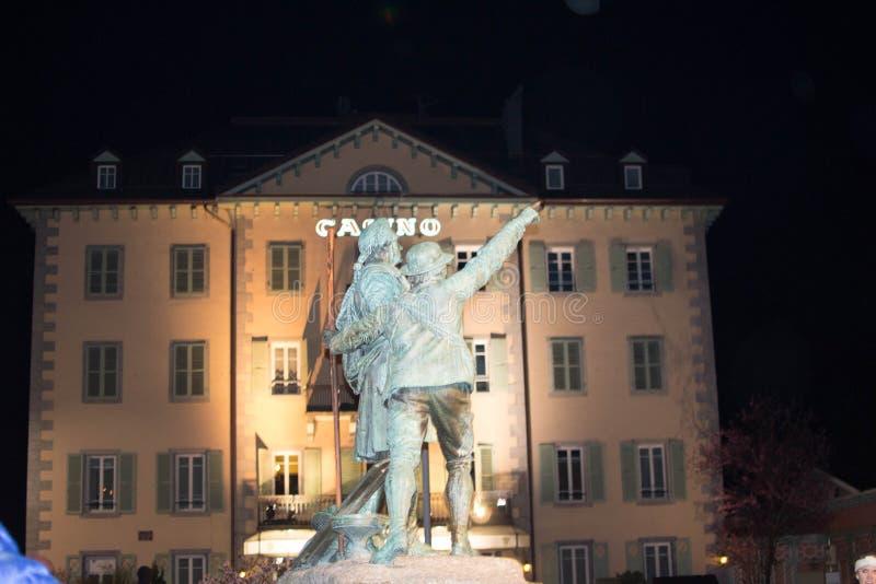 Balmat et het standbeeld van DE Saussure, Chamonix stock foto