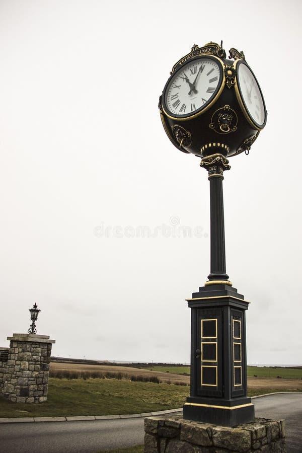 Donald Trump`s International Golf Links. Balmedie, Aberdeenshire, Scotland. Balmedie, Aberdeenshire / Scotland, United Kingdom. Decorative clock at Donald Trump` royalty free stock photos
