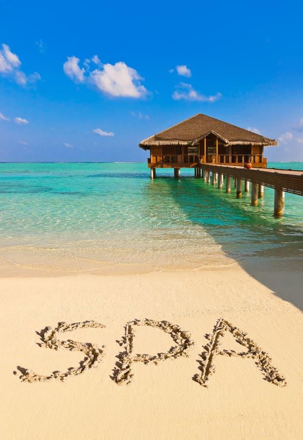 Balneario de la palabra en la playa fotografía de archivo libre de regalías