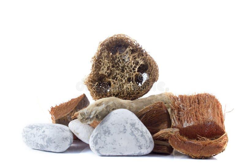 Balneario y ajuste con las piezas de madera, spong natural de la salud de la lufa fotos de archivo libres de regalías