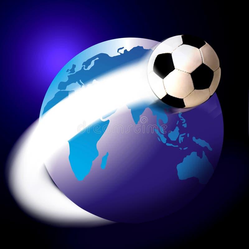 Balompié del fútbol y el mundo o el globo stock de ilustración