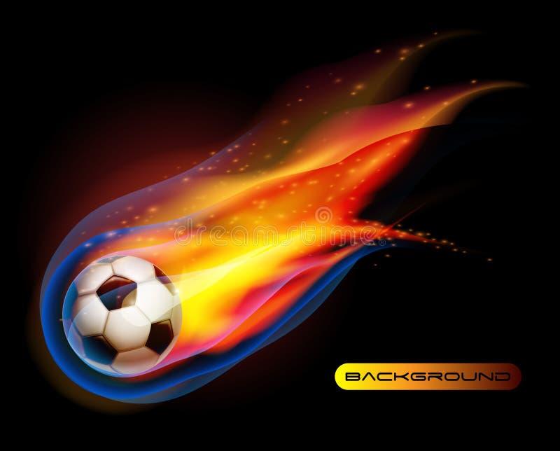 balompié del fuego del balón de fútbol   stock de ilustración