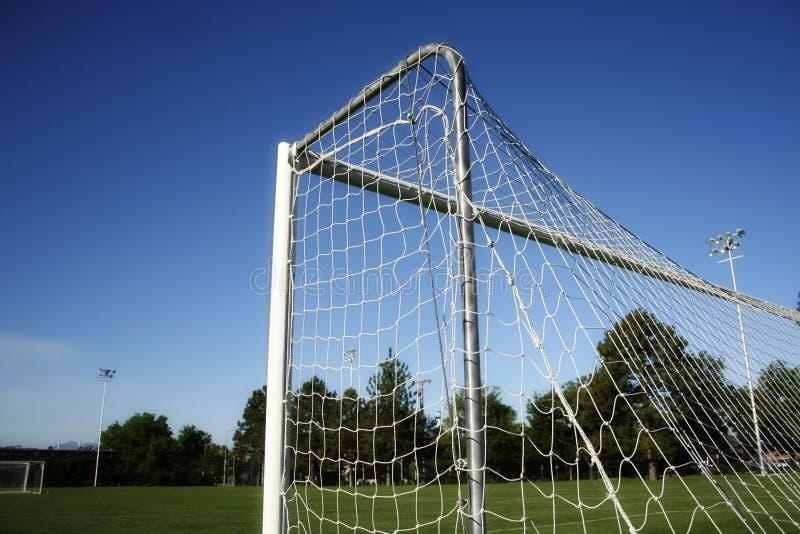 Balompié/meta y red del fútbol imagen de archivo