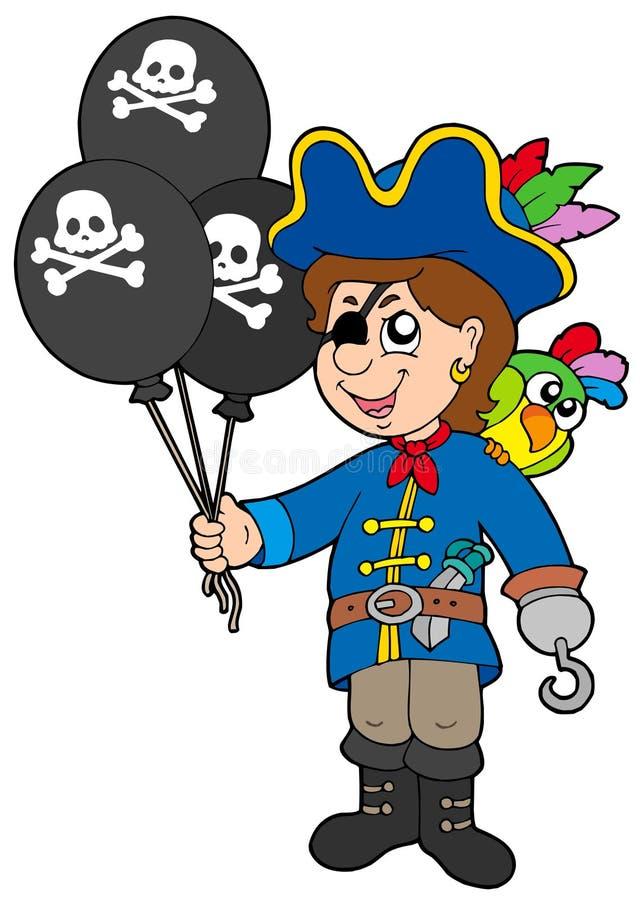 balonów chłopiec pirat royalty ilustracja