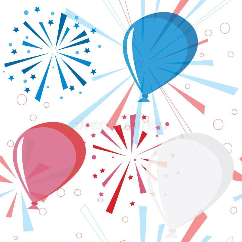 balonów fajerwerków wakacje wzór bezszwowy royalty ilustracja