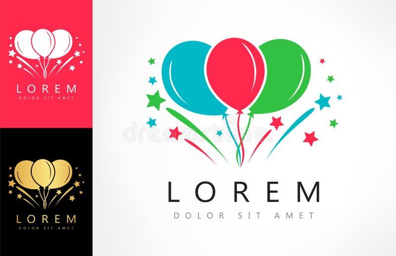 Balonów i fajerwerków wektoru logo royalty ilustracja