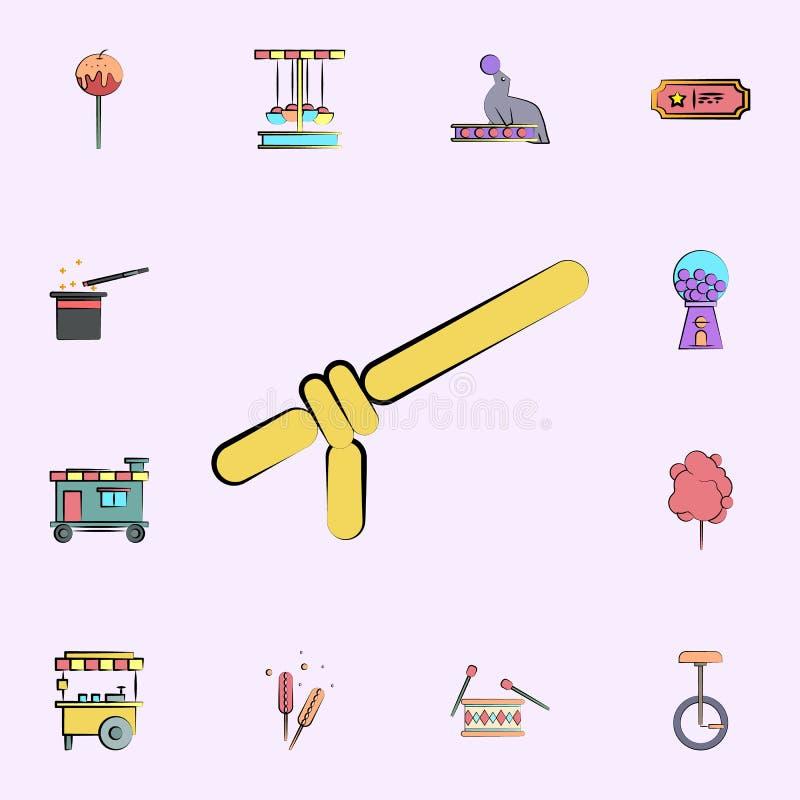 balon dla zabawki barwionej ikony cyrkowy ikony ogólnoludzki ustawiający dla sieci i wiszącej ozdoby ilustracji