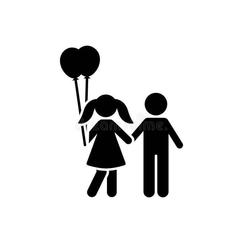 Balon, dziewczyna, chłopiec, spacer, miłości ikona Element dziecko piktogram Premii ilo?ci graficznego projekta ikona podpisz sym ilustracji