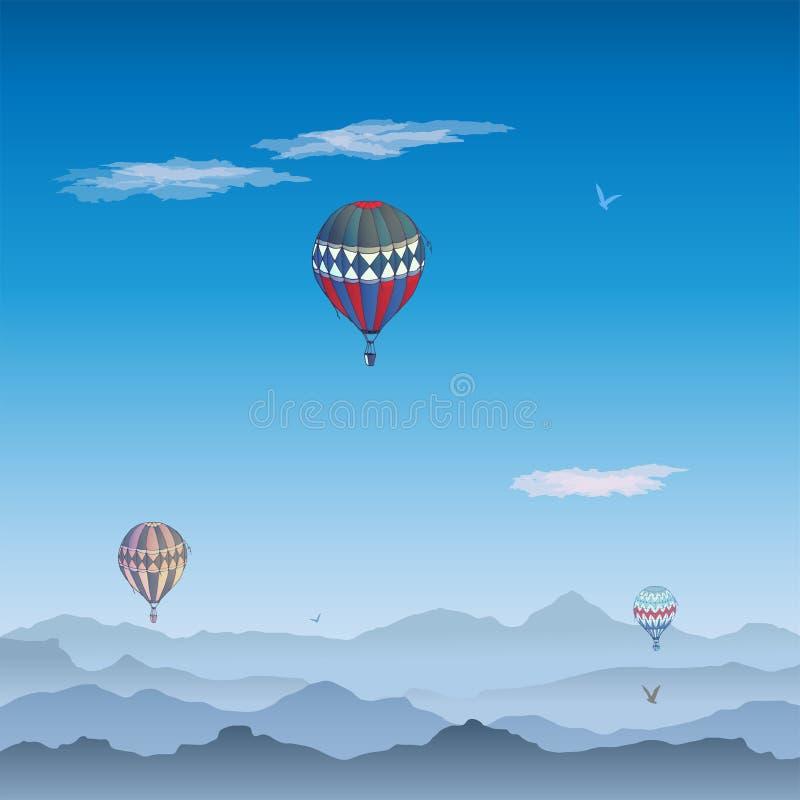Balon karta Niekt?re inaczej barwili pasiastych lotniczych balony lata w pogodnym niebie Wzory chmur i ptak?w wznosi? si? ilustracja wektor