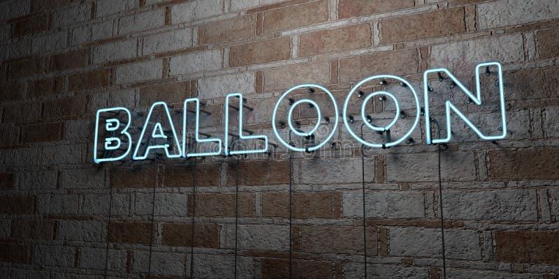 BALON - Rozjarzony Neonowy znak na kamieniarki ścianie - 3D odpłacająca się królewskości bezpłatna akcyjna ilustracja royalty ilustracja